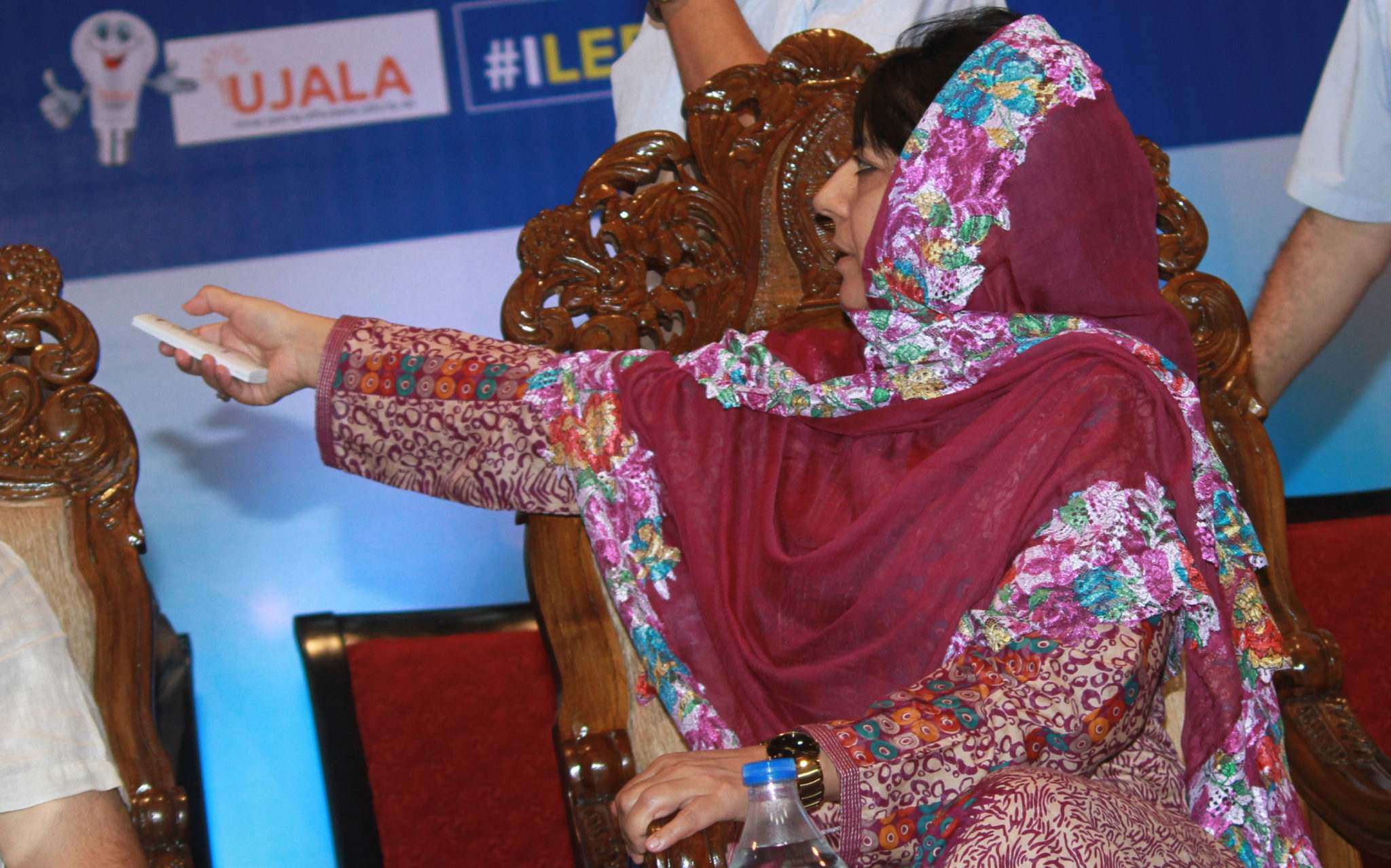 Chief Minister Mehbooba Mufti along with Speaker JK Assembly Kavinder Gupta and Deputy Chief Minister JK Nirmal Singh Launch the LED UJALA Scheme during a function at Jammu 4