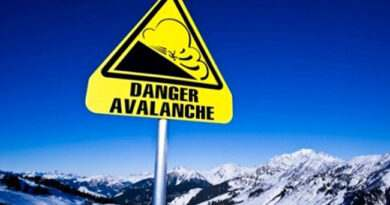 Avalanche sign in the Alps, France