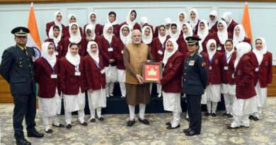The Prime Minister, Shri Narendra Modi with the girl students from Srinagar on tour under Sadbhavna Programme of the Indian Army, in New Delhi on December 23, 2017.