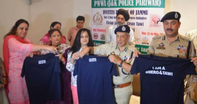 Jammu and Kashmir Police Wives Welfare Association (PWWA) to launch Clean Tawi – Clean Jammu from Tomorrow