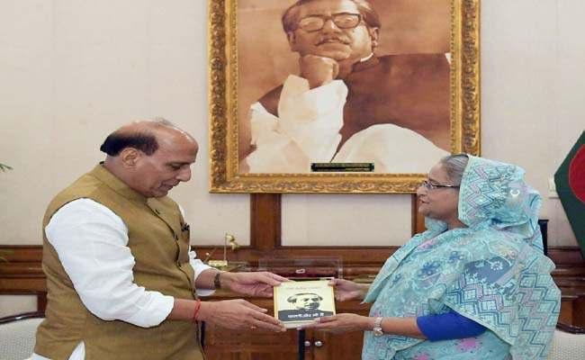 The Union Home Minister, Shri Rajnath Singh calling on the Prime Minister of Bangladesh, Ms. Sheikh Hasina, in Dhaka, Bangladesh on July 14, 2018.