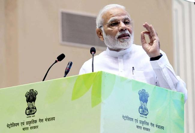 """The Prime Minister, Shri Narendra Modi addressing the gathering at the inauguration of the """"World Biofuel Day 2018"""" programme, in New Delhi on August 10, 2018."""